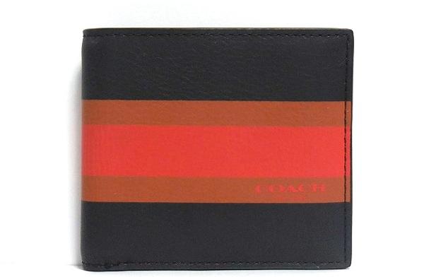 コーチ メンズ 二つ折り財布F75137紺