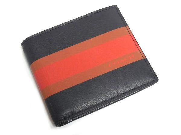 コーチ メンズ 二つ折り財布F75137紺 前面