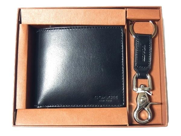 F61759BLK 二つ折り財布 キーホルダー 黒