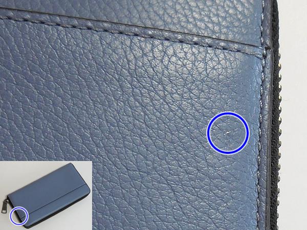 コーチ メンズ ジップ長財布F58102淡い青 汚れ