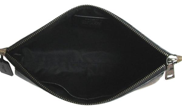 コーチ メンズ セカンドバッグF29508カーキ黒 内装