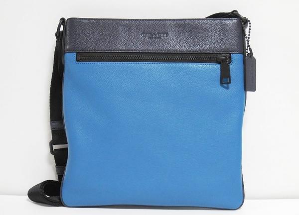 コーチ メンズ 斜めがけバッグ72101青×紺