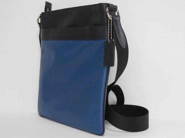 コーチ メンズ 斜めがけバッグF55362紺×青 側面