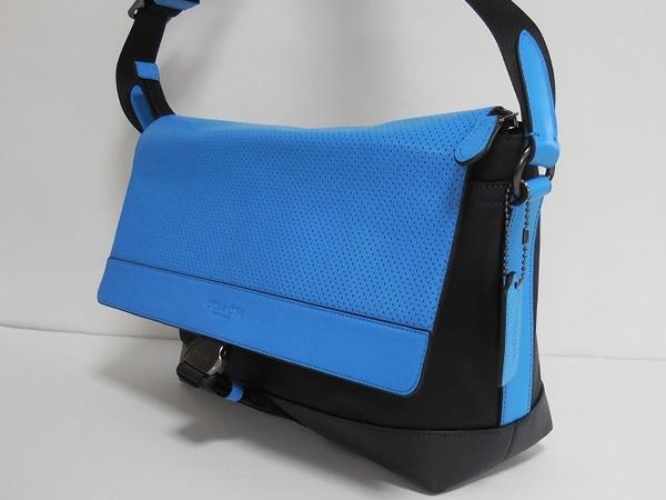 メンズ 斜めがけバッグF71968青×紺 側面