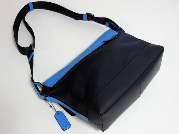 メンズ 斜めがけバッグF71968青×紺 背面