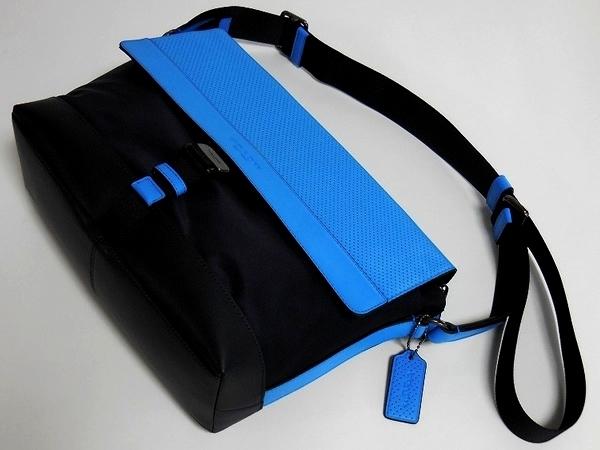 メンズ 斜めがけバッグF71968青×紺