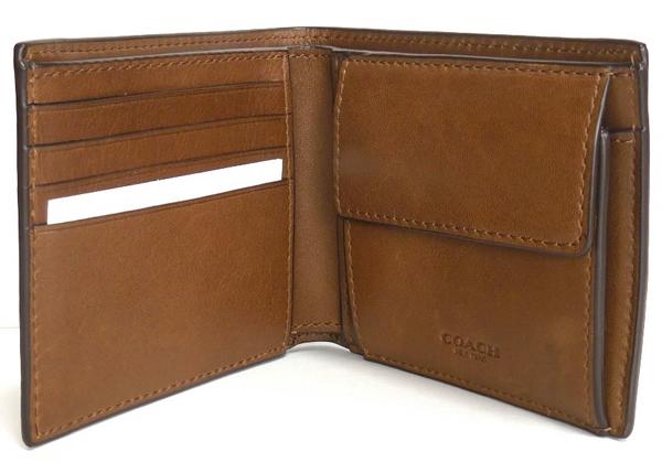 コーチ メンズ 二つ折り財布57698茶色 内装