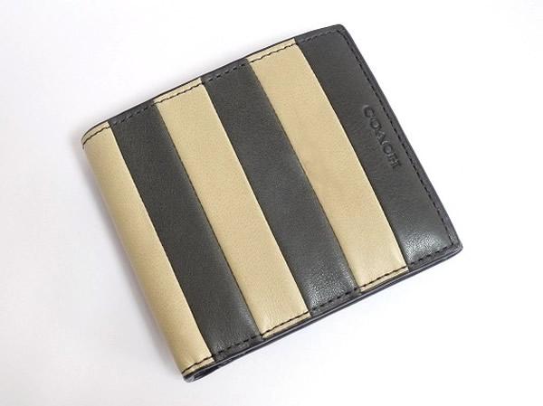 コーチ メンズ二つ折り財布74749グレーベージュ