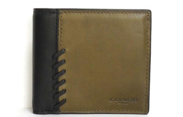 コーチ メンズ 二つ折り財布75217カーキ黒 正面