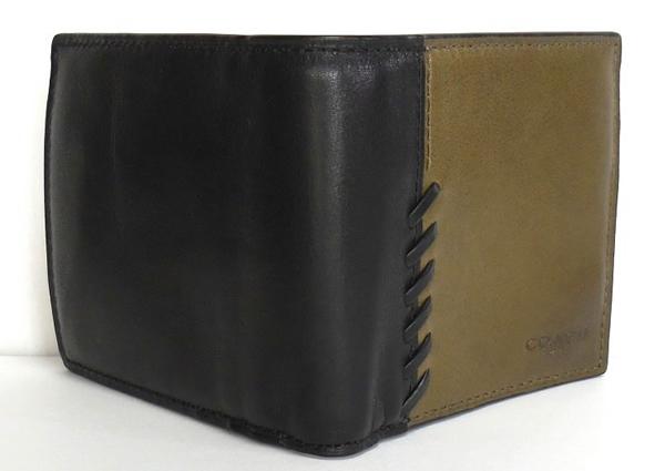 コーチ メンズ 二つ折り財布75217カーキ黒 外装