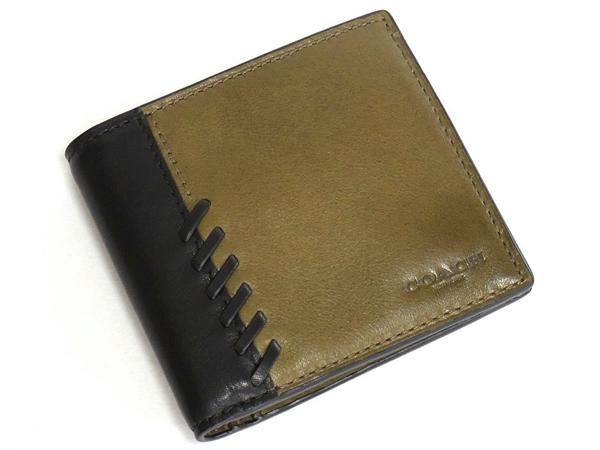 コーチ メンズ 二つ折り財布75217カーキ黒 前面