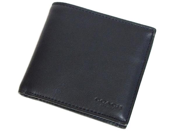 コーチ メンズ 二つ折り財布79160濃紺 前面