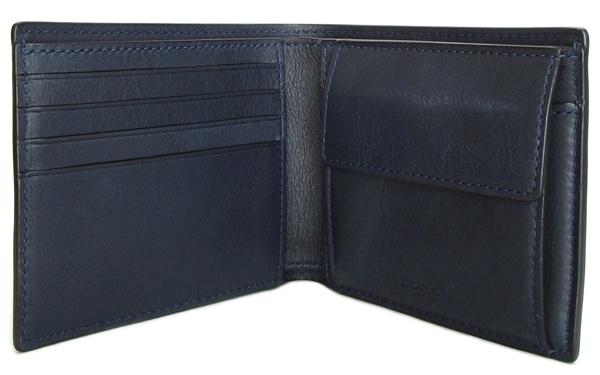 コーチ メンズ 二つ折り財布79160濃紺 カード入れ
