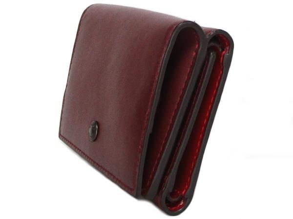コーチ 三つ折り財布89132赤紫 側面