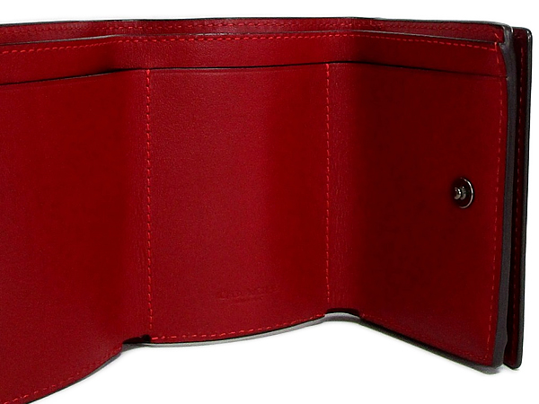 コーチ 三つ折り財布89132赤紫 カード入れ
