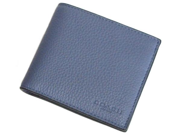 コーチ 二つ折り財布C3422水色 前面