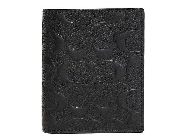 コーチ メンズ 二つ折り財布F11970黒 正面