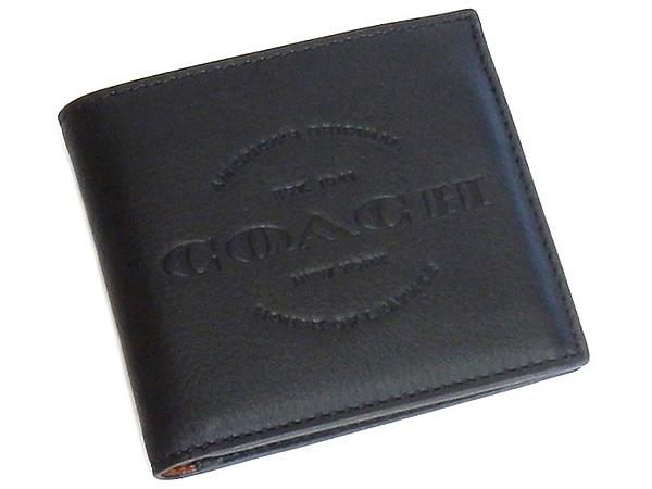 コーチ メンズ二つ折り財布F24647黒 前面