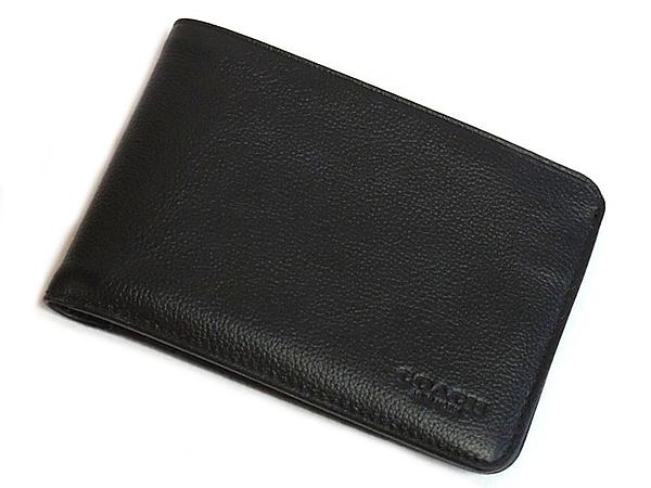 コーチ メンズ 二つ折り財布F24749黒 正面