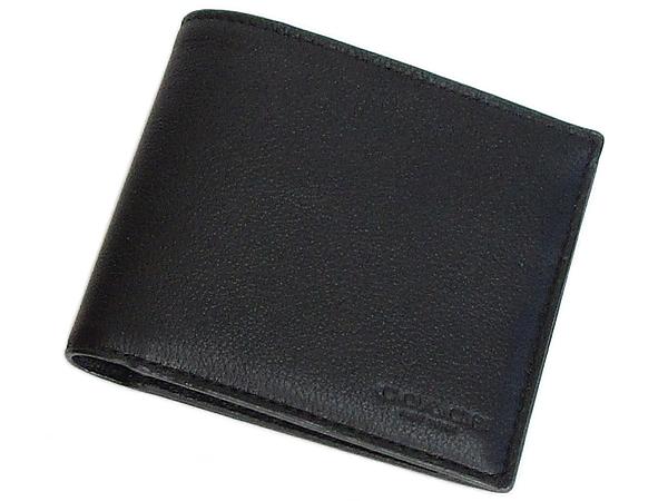 コーチ メンズ 二つ折り財布F64118黒 前面