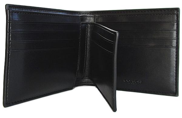 コーチ メンズ 二つ折り財布F73117黒 カード入れ
