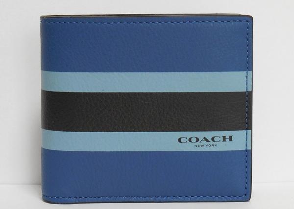 コーチ メンズ 二つ折り財布F75137青