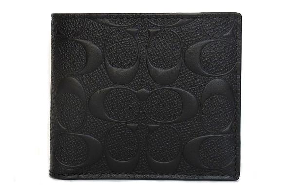 コーチ メンズ二つ折り財布F75363黒