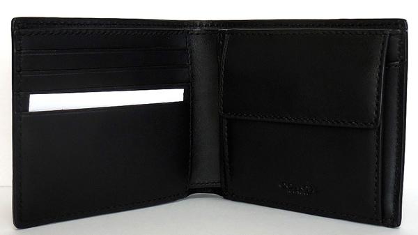 コーチ メンズ二つ折り財布F75363黒 内装