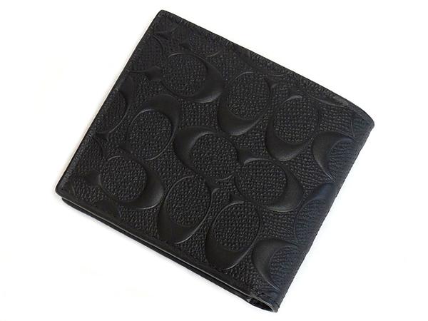 コーチ メンズ二つ折り財布F75363黒 背面