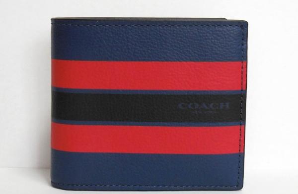 コーチ メンズ 二つ折り財布F75394青 正面