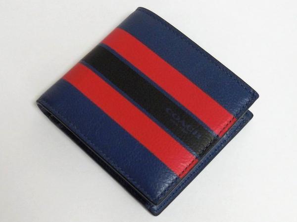 コーチ メンズ 二つ折り財布F75394青 前面