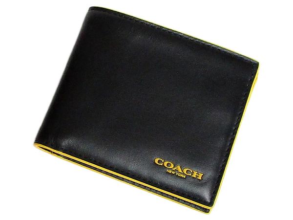 コーチ メンズ二つ折り財布F88135黒黄色 前面