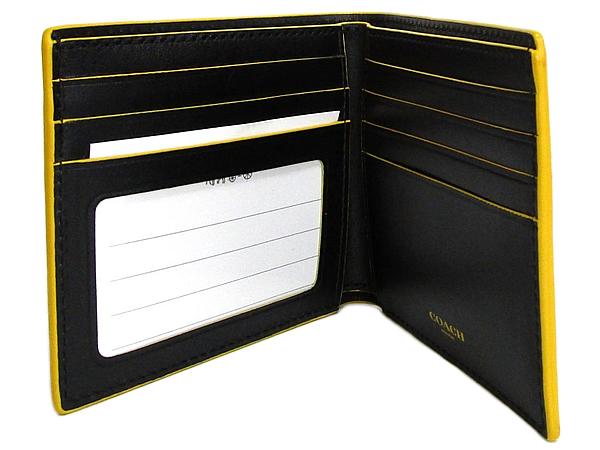 コーチ メンズ二つ折り財布F88135黒黄色 カード入れ