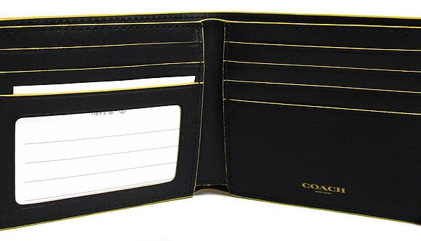 コーチ メンズ二つ折り財布F88135黒黄色 ID入れ