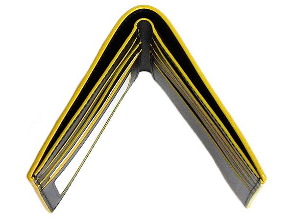 コーチ メンズ二つ折り財布F88135黒黄色 天面