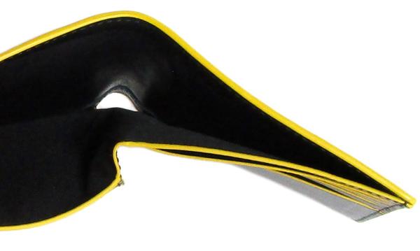 コーチ メンズ二つ折り財布F88135黒黄色 札入れ