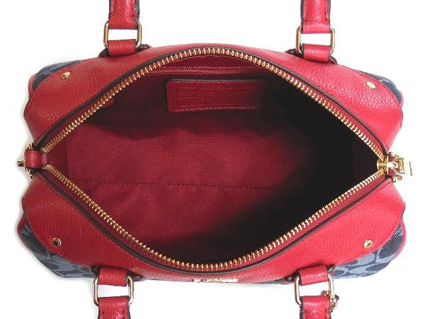 コーチ ミニハンドバッグF37251デニム赤 荷室
