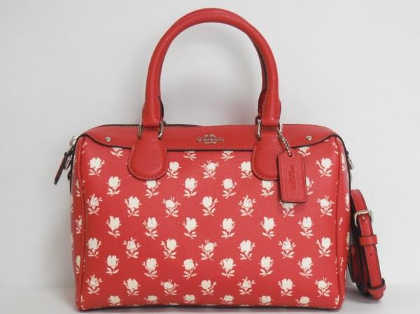 コーチ ハンドバッグF38160赤花柄