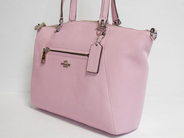コーチ ハンドバッグ34340淡いピンク 側面