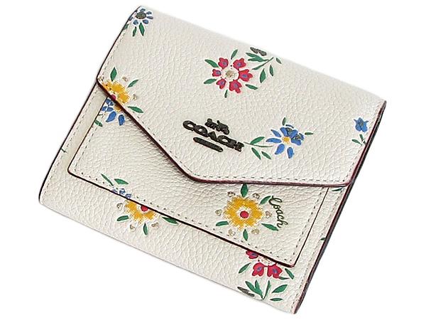 コーチ 三つ折り財布1131花柄白 前面