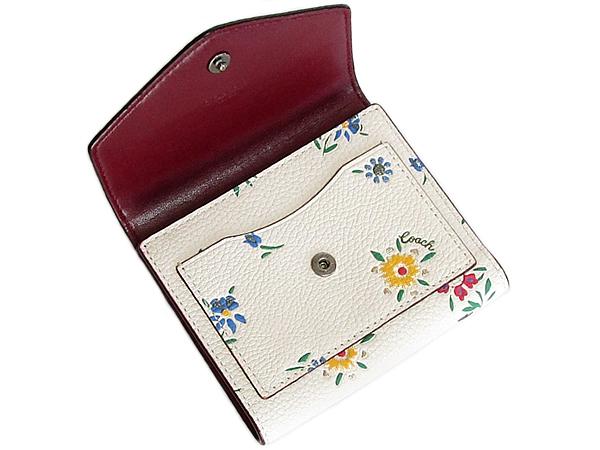 コーチ 三つ折り財布1131花柄白 前ポケット