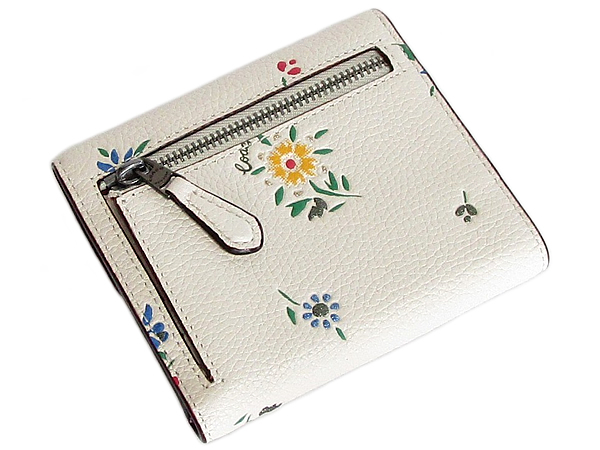 コーチ 三つ折り財布1131花柄白 背面