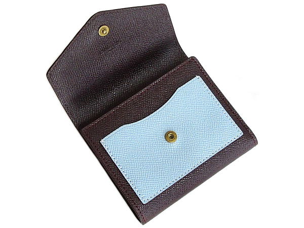 コーチ 三つ折り財布12123白水色茶色 前ポケット