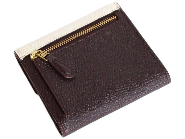 コーチ 三つ折り財布12123白水色茶色 背面