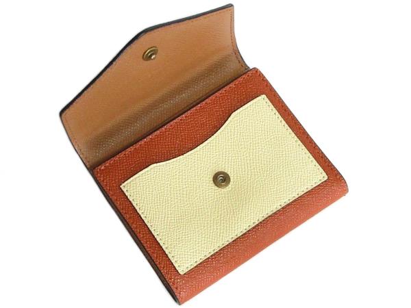 コーチ 三つ折り財布12123グレージュベージュオレンジ 前ポケット