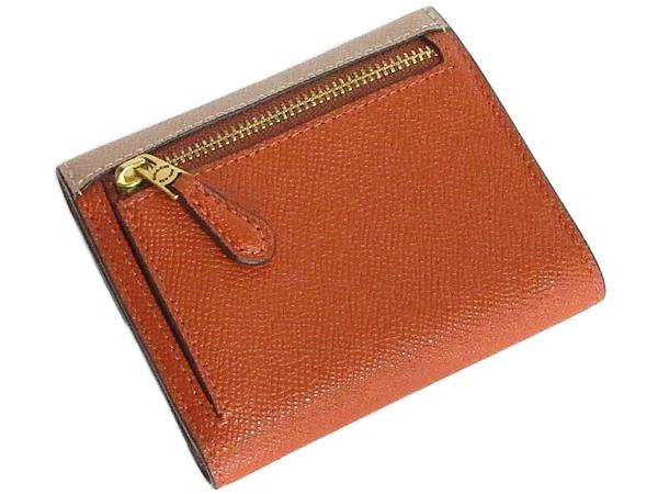 コーチ 三つ折り財布12123グレージュベージュオレンジ 背面