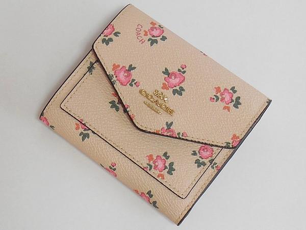 コーチ 三つ折り財布27112花柄ピンク 前面