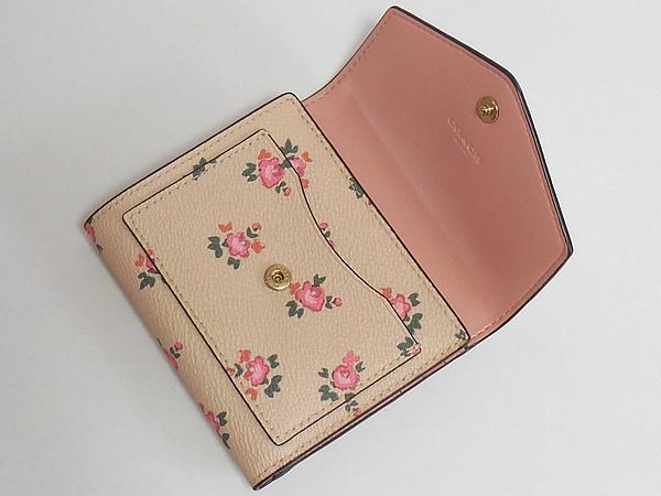 コーチ 三つ折り財布27112花柄ピンク 前ポケット