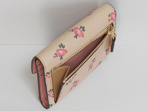コーチ 三つ折り財布27112花柄ピンク 小銭入れ