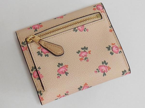 コーチ 三つ折り財布27112花柄ピンク 背面
